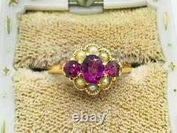 Antique Victorian 14K Gold Pink Tourmaline Pearl Cluster Ring