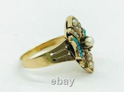 Antique Victorian 14K Gold Turquoise & Seed Pearl Ring
