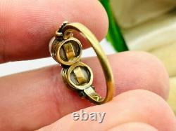 Antique Victorian 14K Rose Gold 2-Stone Pearl Ring