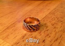 Antique Victorian 14K Rose Gold Band Ring Floral Beautiful Estate Jewelry SZ 8