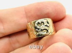 Antique Victorian 14K Rosy Gold S Signet Initial Signet Band Ring