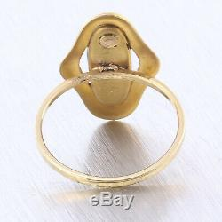 Antique Victorian 14K Yellow Gold Oblong Cabochon Amethyst Conversion Ring