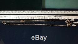 Antique Victorian 14K diamond Mississippi Shark tooth Pearl Necklace