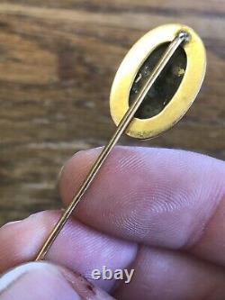 Antique Victorian 14k GOLD & GOLD IN QUARTZ Stick Pin ENGRAVED A+ ESTATE FIND