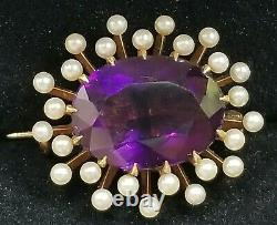 Antique Victorian 14k Gold Amethyst Pearl Pin-Estate Jewelry Osmun- Parker 4.3g
