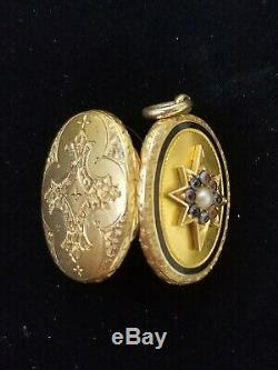 Antique Victorian 14k Gold Banded Agate Pearl Locket Pendant-Estate Jewelry 6.8g