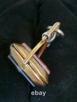 Antique Victorian 14k Gold Banded Agate Spinner Locket Pendant-Estate 13.6 gm