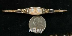 Antique Victorian 14k Gold Diamond Cherub Portrait Bar Pin Brooch-Estate Jewelry