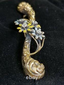 Antique Victorian 14k Gold Diamond Enamel Flower Brooch Pin-Estate Jewelry 4.3 g