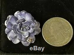 Antique Victorian 14k Gold Diamond Enamel Flower Pendant Brooch-Estate Jewelry