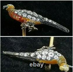 Antique Victorian 14k Gold Diamond Enamel Pheasant Stick Pin-Estate Jewelry 2.7g