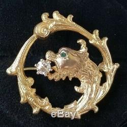 Antique Victorian 14k Gold Diamond Griffin Dragon Pendant Watch Pin Brooch 8.8g