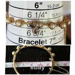 Antique Victorian 14k Gold Diamond Pearl Bangle Bracelet Estate Jewelry 10.6gm