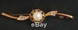 Antique Victorian 14k Gold Diamond Pearl Brooch Pin-Estate Jewelry Women's Pin