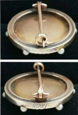 Antique Victorian 14k Gold Diamond Pearl Enamel Angel Cherub Brooch-Estate 8.4g