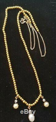 Antique Victorian 14k Gold Diamond Pearl Pendant Necklace-Estate Jewelry 8.8gm