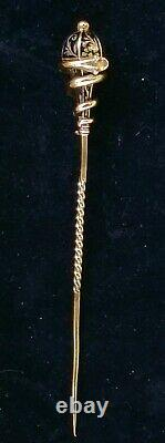 Antique Victorian 14k Gold Enamel Snake Mourning Stick Pin Estate Jewelry 4.5 g