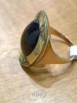 Antique Victorian 14k Gold Garnet Cabochon Diamond Ring Rose Cut Diamonds 1880's