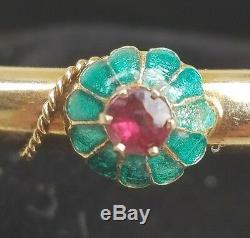 Antique Victorian 14k Gold Garnet Enamel Bracelet-Gold Bangle-Estate Jewelry