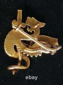 Antique Victorian 14k Gold Griffin Dragon Pearl Ruby Brooch Pendant Estate 6.6g