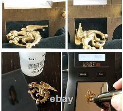 Antique Victorian 14k Gold Griffin Serpent Dragon Pearl Brooch Watch Pin Estate