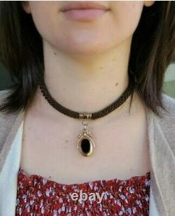 Antique Victorian 14k Gold Locket Banded Agate Pendant-Estate Jewelry 13.6 gm