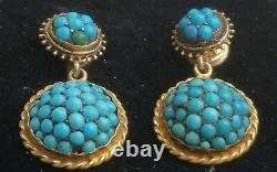 Antique Victorian 14k Gold Paved Turquoise Dangle Earrings-Estate Jewelry 8.6 gm