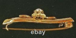 Antique Victorian 14k Gold Pearl Diamond Brooch Pin-Estate Jewelry 5.4 gm