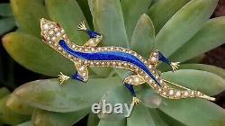 Antique Victorian 14k Gold Pearl Ruby Enamel Lizard Brooch-Estate Jewelry 8.2 gm