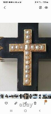 Antique Victorian 14k Gold Seed Pearl Jet Mourning Cross Pendant Brooch Estate