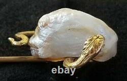 Antique Victorian 14k Gold Snake Natural Pearl Stick Pin-Estate Jewelry 4.2 gm