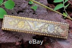 Antique Victorian 14k Gold Swallow Bird Flower Brooch Pin-Estate Jewelry Ladies