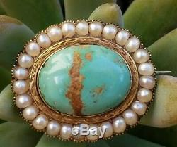 Antique Victorian 14k Gold Turquoise Pearl Brooch Pin -Estate Jewelry