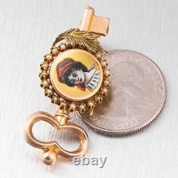 Antique Victorian 14k Rose Gold Pearl Halo Painted Lady Skeleton Key Brooch Pin
