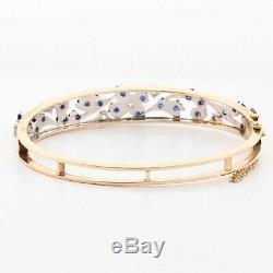 Antique Victorian 14k White & Yellow Gold Diamond Sapphire Filigree Bracelet 8