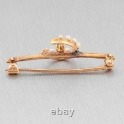 Antique Victorian 14k Yellow Gold Diamond Pearl Crescent Moon Brooch Pin 0.02ct