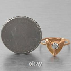 Antique Victorian 14k Yellow Gold Diamond Shield Ring 0.25ct Size 6.5