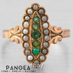 Antique Victorian 14k Yellow Gold Oblong Emerald Seed Pearl Ring Size 6.75
