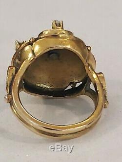 Antique Victorian 14k Yellow Gold Opal & Seed Pearl Halo Filigree Ring Size 7.5