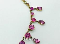 Antique Victorian 15ct Rose Gold Fringe Pink Glass Drop Necklace