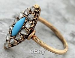 Antique Victorian 1890s Estate 14K Yellow Gold Turquoise Rosecut Diamond Ring