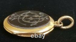 Antique Victorian 18K Gold Bloodstone Agate Mourning Locket Pendant Estate 21.4g