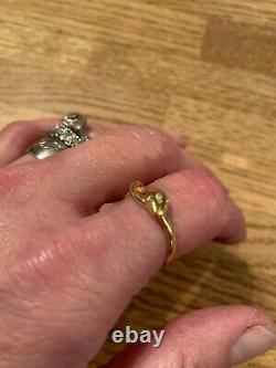 Antique Victorian 18K Gold Gilded (over Sterling) Opal Snake Ring -STUNNING