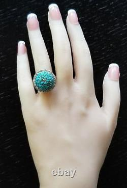 Antique Victorian 18K Gold Turquoise Diamond Dome Ring-Estate Jewelry 6.8g