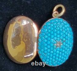 Antique Victorian 18k Gold Turquoise Diamond Locket Pendant Estate Jewelry 12 g