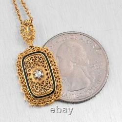 Antique Victorian 18k Yellow Gold Old Mine Diamond Blue Enamel Filigree Necklace