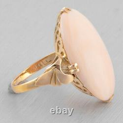 Antique Victorian 18k Yellow Gold Oval Cabochon Angelskin Coral Ring Size 5.25