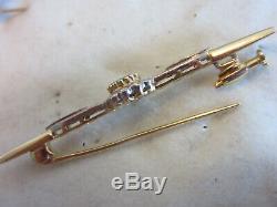 Antique Victorian 750 18K gold, Diamond & Emerald stick pin Brooch, Estate 5.1gr