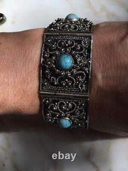 Antique Victorian 800 Silver Turquoise Hinged Panel Bracelet Estate Find