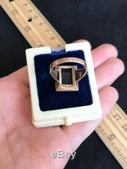 Antique Victorian 8k 333 Gold & Black Onyx Mens Art Deco Ring 1880s Estate